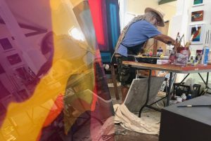 artist in residence inside the cooroy butter arts factory