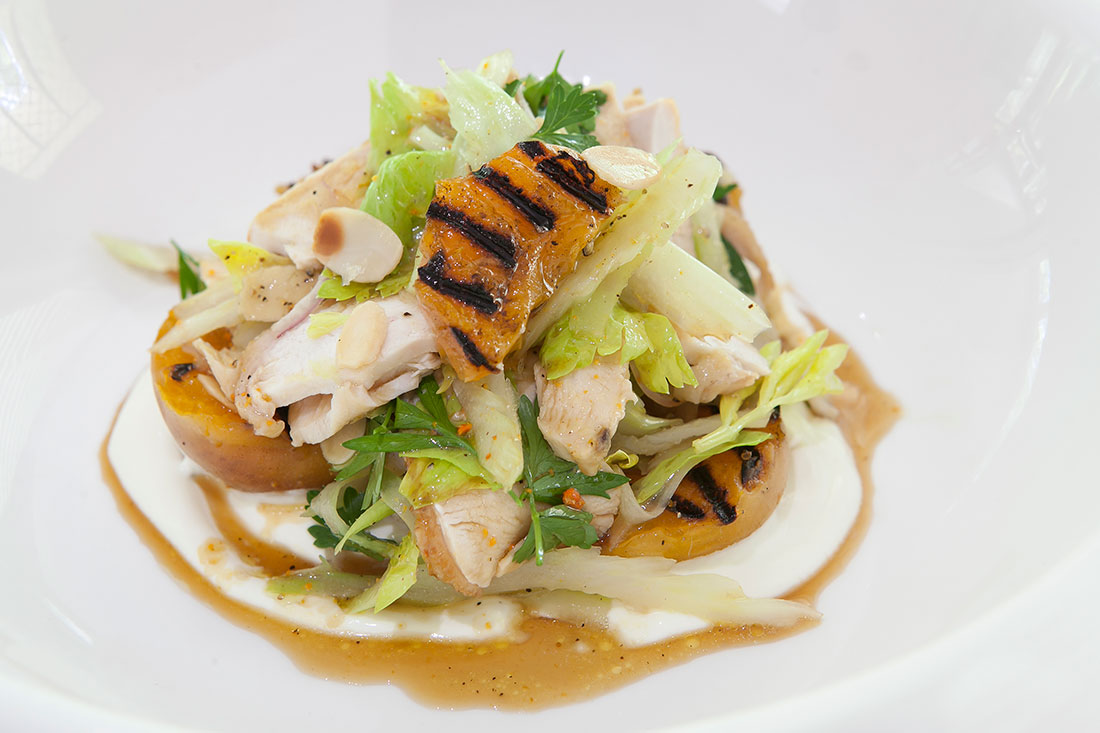 Roast Chicken, Grilled Apricots, Celery Heart, Toasted Almonds and Labneh by Matt-Golinski