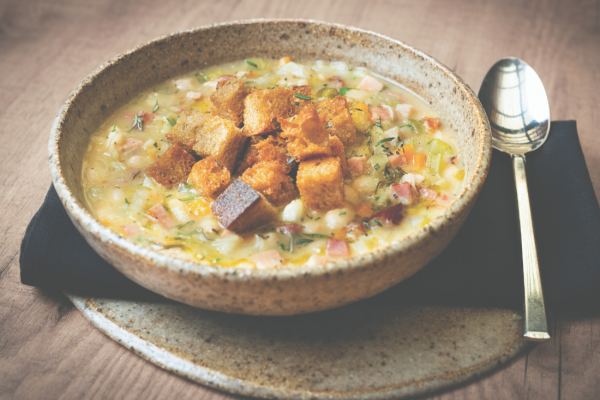 Recipe: Sauerkraut, Smoked Bacon and White Bean Soup with Sourdough Croutons