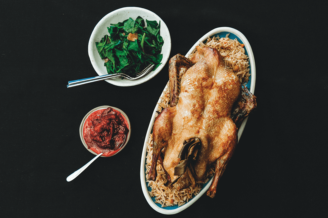 Roast Duck, Davidson Plum and Native Ginger Sauce, Sauteed Warrigal Greens, Macadamia Pilaf